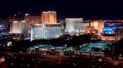 Casino Hotels of the Las Vegas Strip early evening. Stock Footage