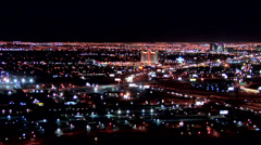 Birds Eye View of Las Vegas by Night looking West - stock footage