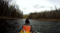 Rafting on a kayak Stock Footage