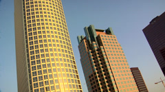 High Rising Buildings in Los Angeles Down Town early evening. Stock Footage