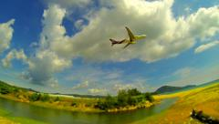 THAILAND - MAY 2014: Aeroplane take off in sunny day. For editorial use. Stock Footage