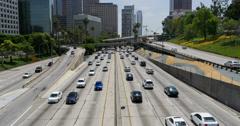 Freeway Traffic 04 LA Downtown Stock Footage