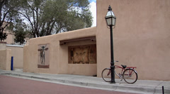 Small Side Street in Center of Sta.  Fe New Mexico Stock Footage