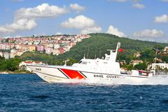 Istanbul - july 5: turkish coast guard boat tcsg-303 on july 5, 2012 in istan Stock Photos