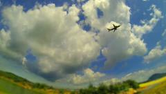 Aeroplane take off in sunny day Stock Footage
