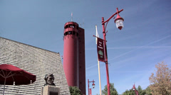 The Observation Tower of the Tower Park with the Village Hall at Peoria Heights Stock Footage