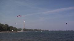 Kite Boarding on Cherry Beach Toronto Stock Footage