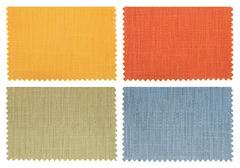 Set of fabric swatch samples texture Stock Photos