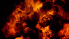 Huge night fire on a gas or oil well or broken petrol pipe. The hell flame. - stock footage