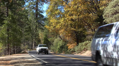 Road inside the Yosemite National Park California Stock Footage