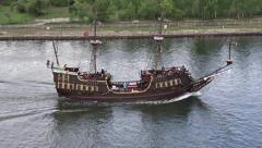 Passenger ship stylized on XVI century galleon, Gdansk, Poland Stock Footage