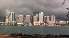 Skyline of Ala Moana Honolulu Hawaii Stock Footage