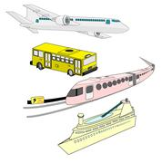 color mass transit vector graphic set - stock illustration