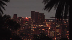 Elevated View of Honolulu early Evening Hawaii Stock Footage