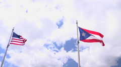American and Puerto Rico Flags Stock Footage