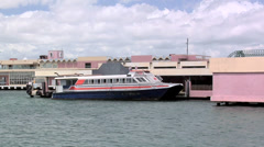 Cross Harbor Ferry departing  from the Old San Juan Pier Stock Footage