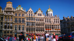 Tourists wander in the Grand Place in Brussels, Belgium. Stock Footage