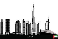 dubai city skyline - stock illustration