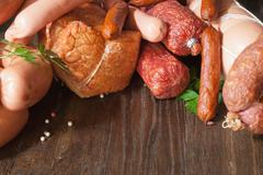 assortment of cold meats - stock photo
