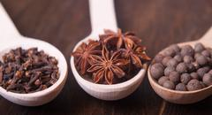 spices ( cloves. star anise, allspice ) - stock photo