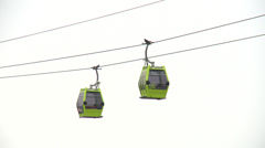 Cable cars over the river Ebro against a cloudy sky Stock Footage
