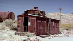 The Ghost Town of the deserted Goldmine Town of Rhyolite Stock Footage