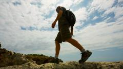 Man stride through deep Stock Footage
