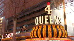 4 Queens hotel and casino on Fremont Street Stock Footage