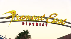 Fremont East District sign close up downtown Vegas Stock Footage