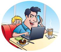 Con Man On A Laptop Computer at a Donut Shop Stock Illustration