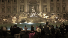Tourist on Fontana di Trevi Stock Footage