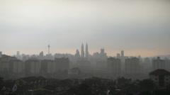 Timelapse Of Rain With Lightning At Kuala Lumpur Stock Footage