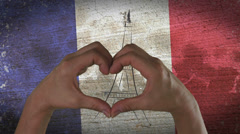 Hands Heart Symbol French Flag Stock Footage