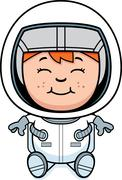 Boy astronaut sitting Stock Illustration