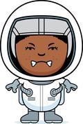 angry boy astronaut - stock illustration