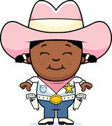 happy little cowgirl - stock illustration