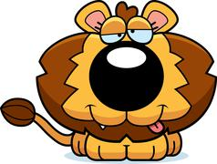 cartoon goofy lion cub - stock illustration