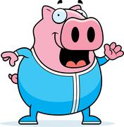 Cartoon pig in pajamas Stock Illustration