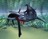 Stock Illustration of liopleurodon attacks plesiosaurus