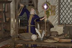 Magic sorcerer Stock Illustration