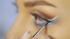 Close up makeup left eye - stock footage