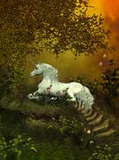 mystical unicorn - stock illustration