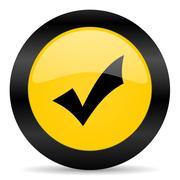 accept black yellow web icon - stock illustration