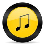music black yellow web icon - stock illustration