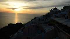 The timelaps of sunset in Oia, Santorini island, Greece Stock Footage