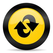 rotation black yellow web icon - stock illustration