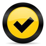 Accept black yellow web icon Stock Illustration
