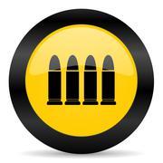 ammunition black yellow web icon - stock illustration