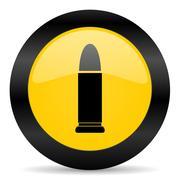 Ammunition black yellow web icon Stock Illustration