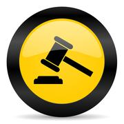 Auction black yellow web icon Stock Illustration